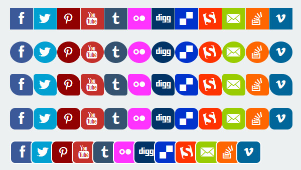 CSS3 Responsive Social Media Flat Icons