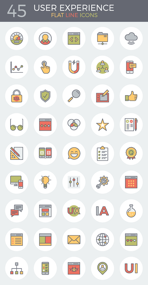 Flat Line User Experience Icon Set (45 Icons)