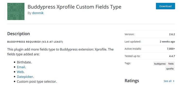 BuddyPress Xprofile Custom Fields Type