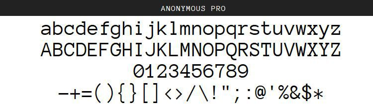 Anonymous Pro by Mark Simonson (Regular, Italic, Bold, and Bold Italic)