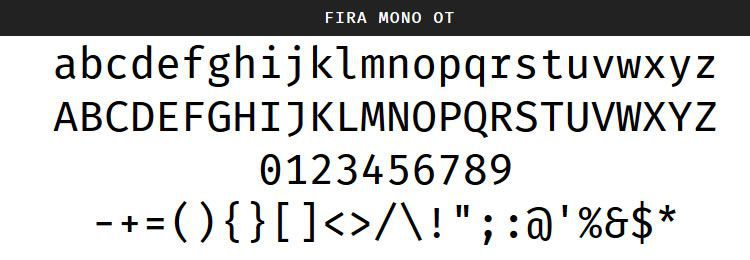 Fira Mono by Mozilla (Regular & Bold)