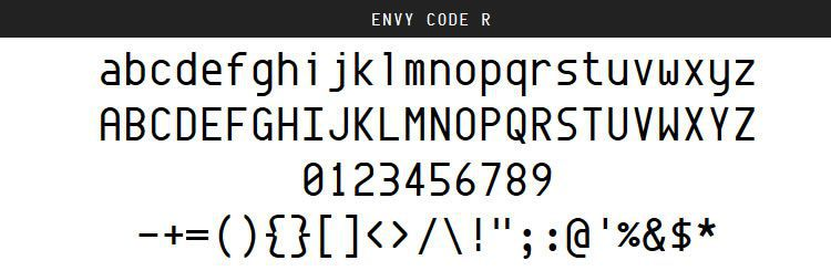 Envy Code by Damien Guard (Regular, Italic & Bold)