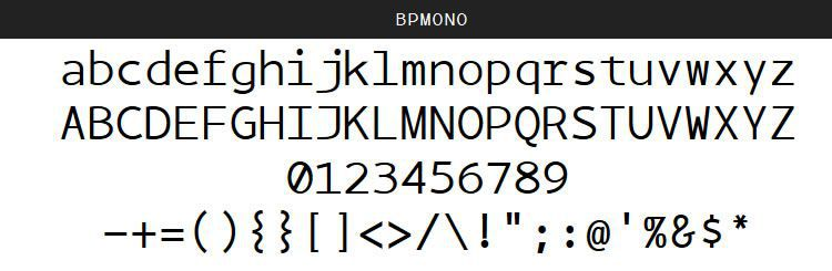 BPmono by Backpacker (Regular, Italic & Bold)