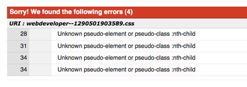 Ошибки проверки CSS