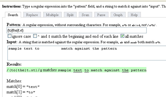Инструменты для работы с регулярными выражениями